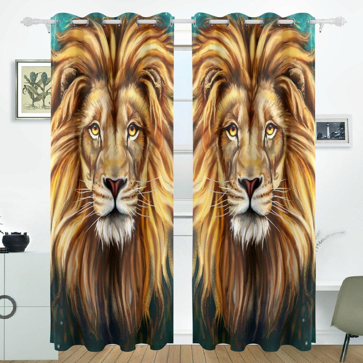 POPCreation King Lion Aslan Window Curtain Blackout