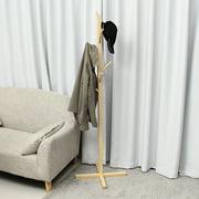 Standing Hook Hat Coat Rack Hanger Clothes Bag Storage Door Wooden Tree Holder Home