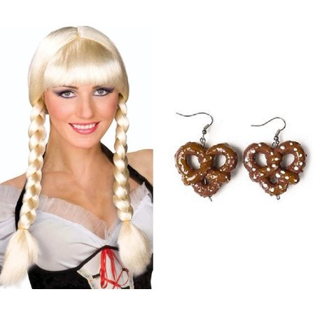 Blonde Bavarian Dutch Braided Wig Pretzel Earrings Inga Oktoberfest Costume Kit - Holland Halloween Traditions