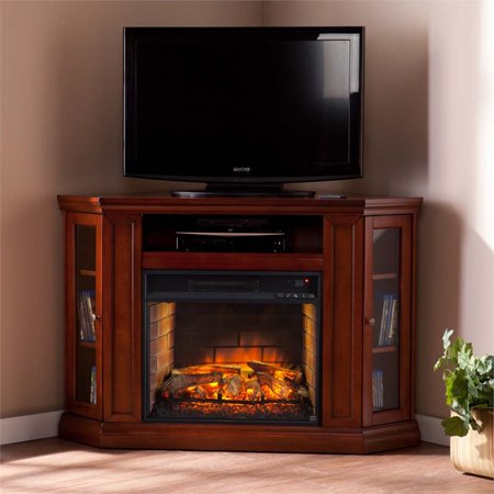 Bowery Hill Corner Fireplace TV Stand in Mahogany Corner Indoor Fireplace