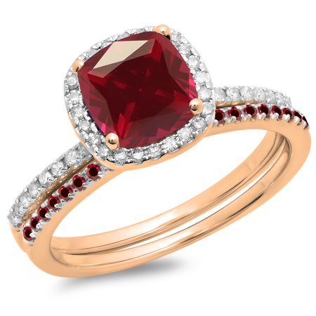 1.75 Carat (ctw) 10K Rose Gold Cushion & Round Cut Ruby & Round Cut White Diamond Ladies Bridal Halo Engagement Ring Wit (Ruby Cushion Cut)