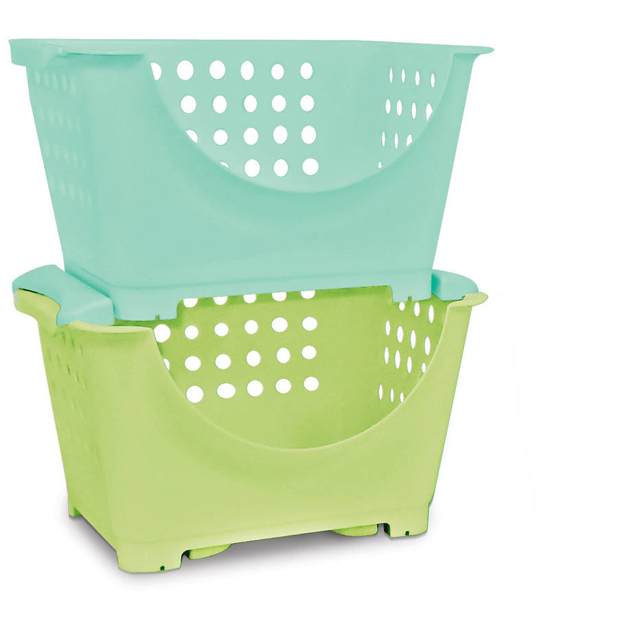 Homz Stackable Storage Bins For Kids Set Of 6 Multiple Colors