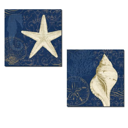 Beautiful Dark Blue and Tan Starfish Seahorse Coral Sandollar and Shell Collage Set by Pela Studio; Two 12x12in Paper Posters. Blue/Tan