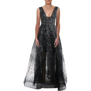 Betsy & Adam Womens Glitter Plunging Formal Dress