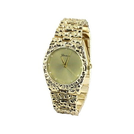 14k Yellow Gold Finish Mens Gold Nugget Bracelet Style Mens Watch Mens Gold Watch Bracelet