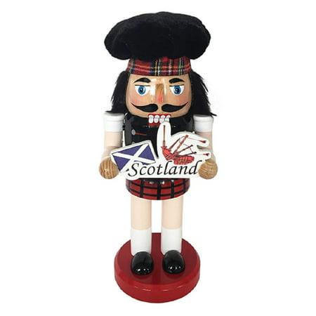 Man Nutcracker - Scottish Man in Kilt with Scotland Flag Sign Wooden Christmas Nutcracker 10 Inch