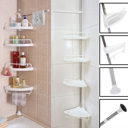 Tmishion 4 Tier Adjule Telescopic Bathroom Corner Shelf With Stainless Stain Clad Pipe 63 118