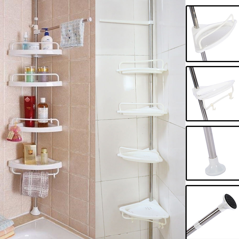"4-Tier Bathroom Corner Shelf,Adjustable Telescopic Shower Shelf Shower Corner Rack - Stainless Steel Clad Pipe, Height of 63"" -118"""