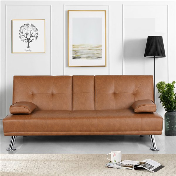 Yaheetech Modern Faux Leather Futon, Brown Fabric Leather Sofa Bed