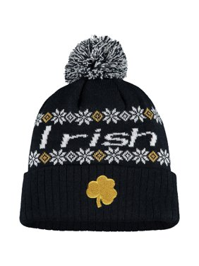 Women's Russell Athletic Navy Notre Dame Fighting Irish Flattered Cuffed Knit Hat with Pom - OSFA