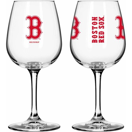 Boelter Brands MLB Set of Two 12 Ounce Wine Glass Set, Boston Red Sox Boston Red Sox Glass