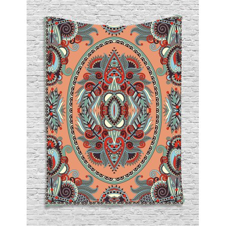 Floral Tapestry, Ethnic Theme Ukrainian Carpet Design with Flowers Paisley Pattern Illustration , Wall Hanging for Bedroom Living Room Dorm Decor, 40W X 60L Inches, Salmon Sky Blue, by Ambesonne