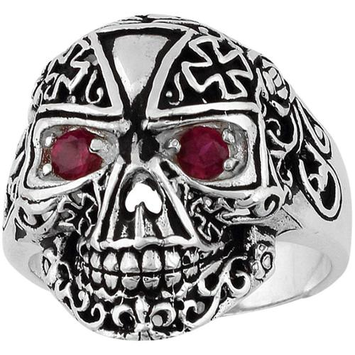 Sterling Silver Victorian Skull Iron Cross Ring 12