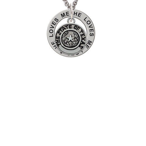 Texas State Seal He Loves Me Affirmation Ring Necklace