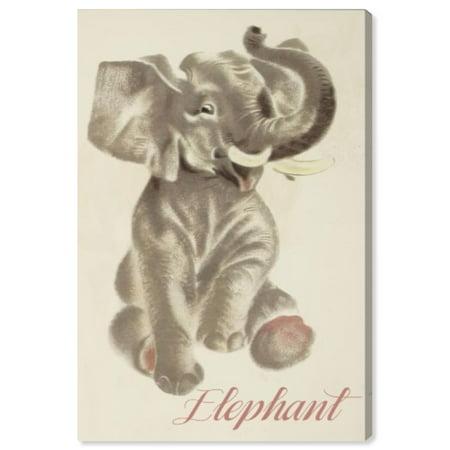 Wynwood Studio 'Elephant' Animals Wall Art Canvas Print - Gray, Pink, 24
