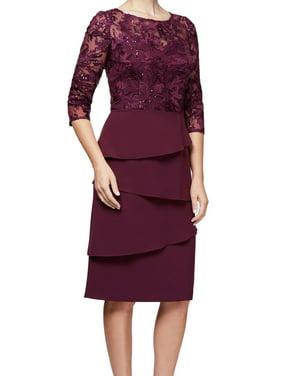 Women's Sequin Lace Tiered Sheath Dress 12