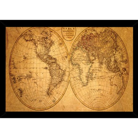 Frame Usa Old World Map Framed Graphic Art Print Poster Walmart Com