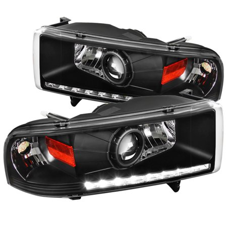 Spec-D Tuning For 1994-2001 Dodge Ram 1500 94-2002 Ram 2500/3500 Black Led  Projector Headlights 1994 1995 1996 1997 1998 1999 2000 2001 2002 (Left +