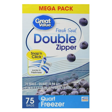 Great Value Fresh Seal Double Zipper Freezer Bags, Quart, 75 Count
