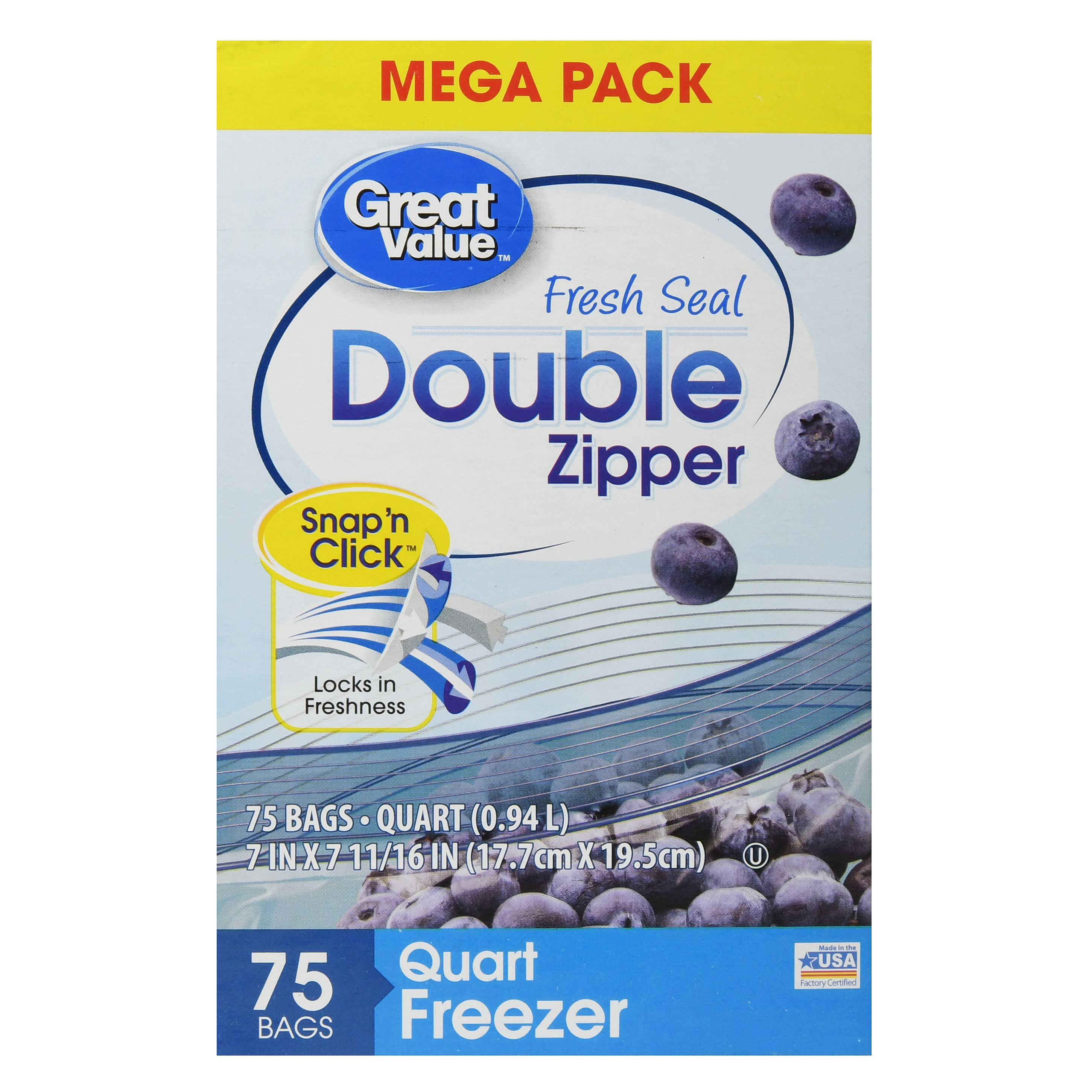 Great Value Double Zipper Freezer Bags, Mega Pack, Quart, 75 Count