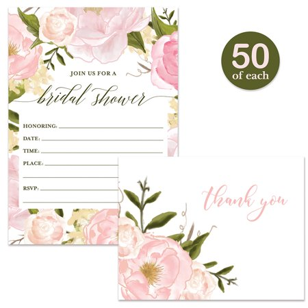 Bridal Shower Invitations ( 50 ) & Thank You Cards ( 50 ) Beautiful Matching Set with Envelopes Bride Wedding Party Maid of Honor Fill-in Guest Invites & Folded Thank You Notes VS0047L