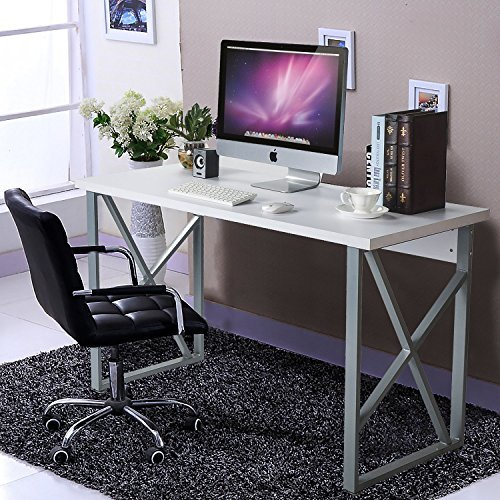 ModernLuxe Home Office Computer Desk Table with metal frame/MDF board White
