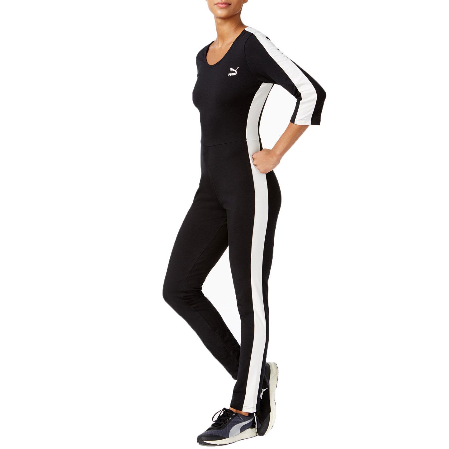 Puma T7 Women's 3/4 Sleeve Jumpsuit Black/White 573534-01