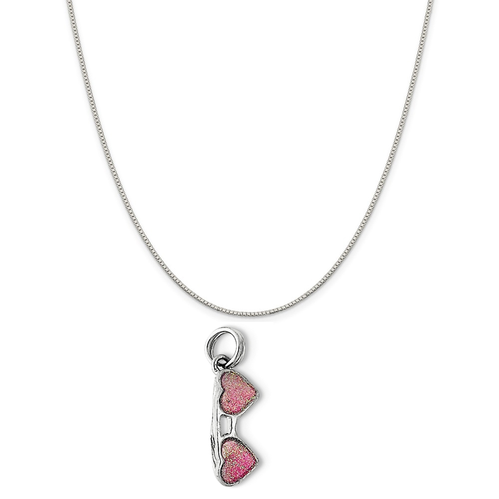 """Sterling Silver Pink Sunglasses Charm on a Sterling Silver Box Chain Necklace, 18"""""""