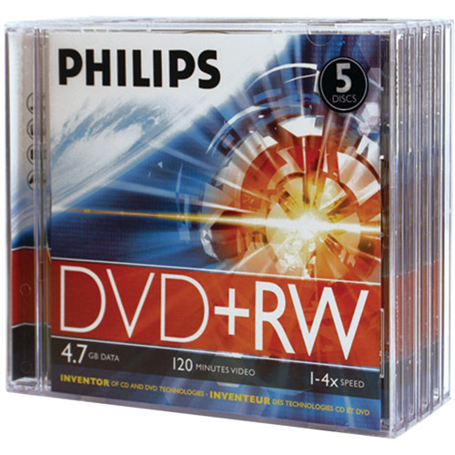 Philips DW4S4J05F/17 4.7GB 4x DVD+RWs with Jewel Cases, 5pk