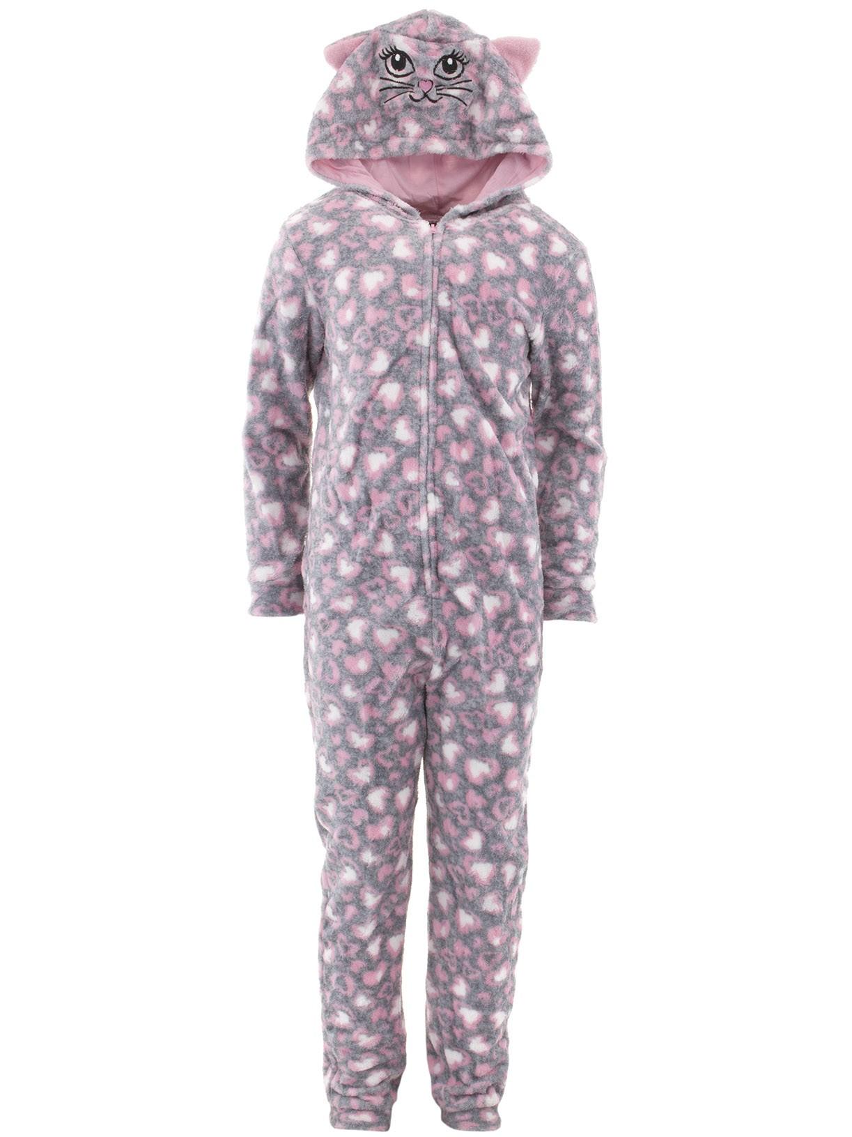 dELiA*s Girls Cat Gray Hooded One-Piece Pajamas