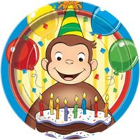 """9"""" Curious George Party Plates, 8ct"""