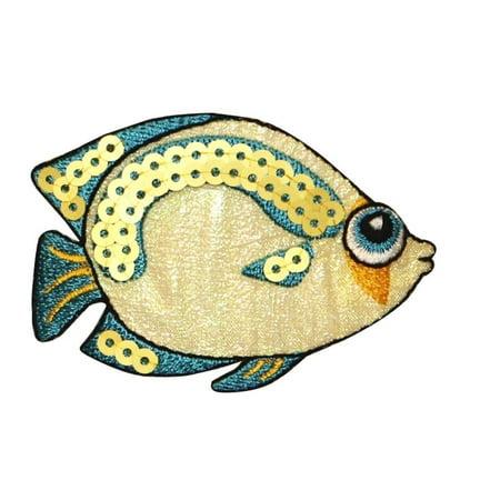 Big Applique - ID 0200 Tropical Fish Patch Sequin Big Eyes DIY Craft Iron On Applique