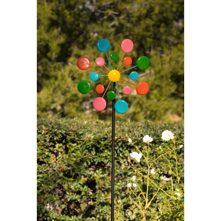 Multi-Color Metal Circles Windmill w/Stake & Fence Topper ()