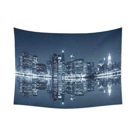 City Hangings - GCKG Manhattan New York City View Brooklyn Cityscape Tapestry Horizontal Wall Hanging Night Landscape Wall Decor Art for Living Room Bedroom Dorm Cotton Linen Decoration 80 x 60 Inches