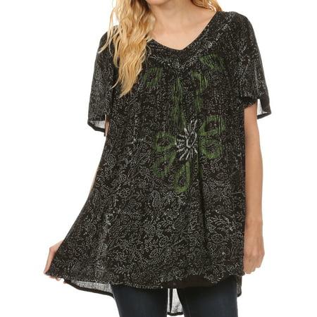 - Sakkas Talulla Long V Neck Batik Floral Leaf Embroidered Printed Blouse Shirt Top - Black - OS