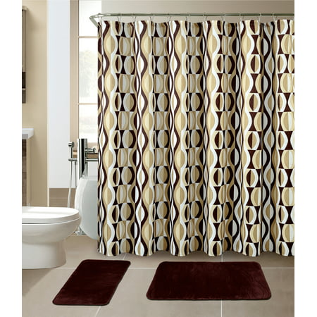 All American Collection New 15 Piece Bathroom Mat Set Memory Foam with Matching Shower Curtain