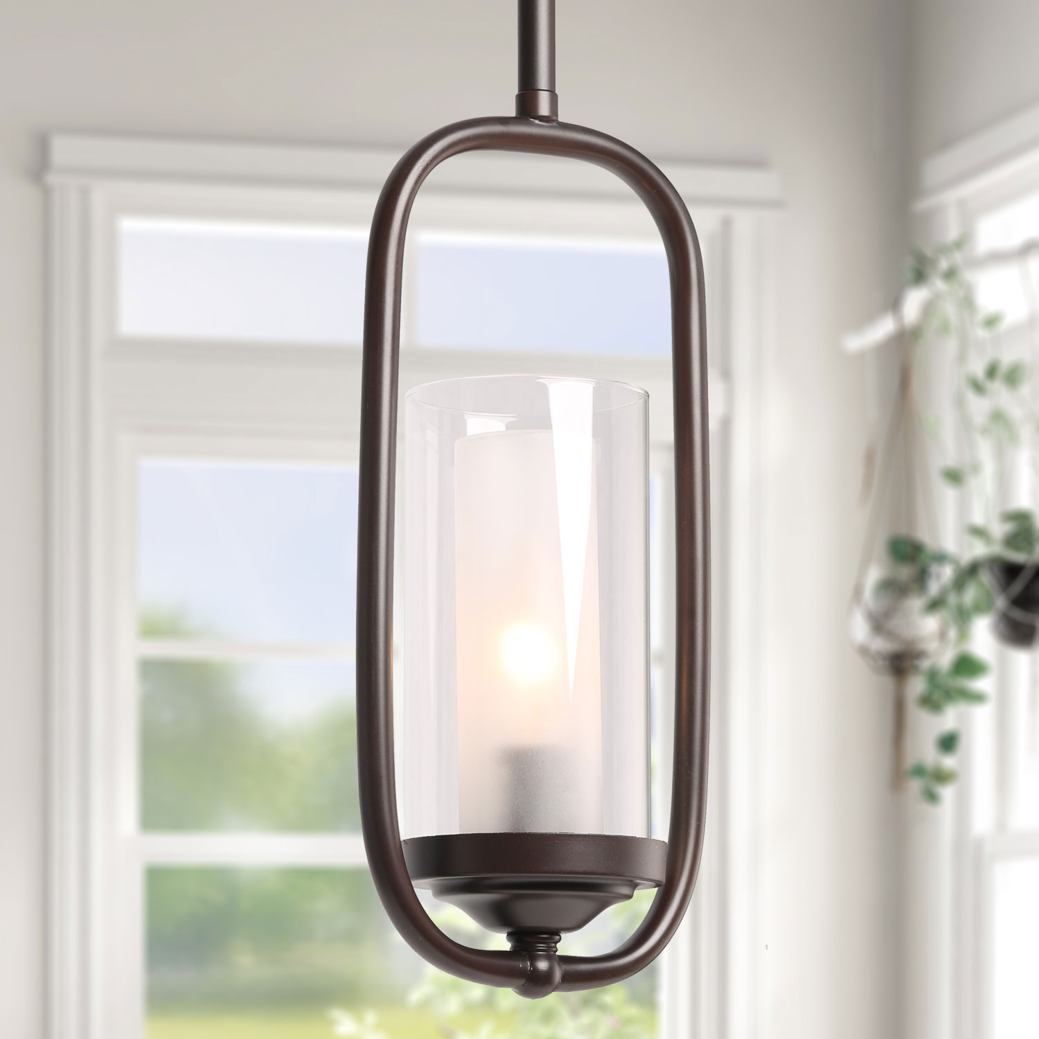 Clearance Pendant Lighting For Kitchen Island Glass Shade Modern Farmhouse Hanging Ceiling Lamp Brown Finished Walmart Com Walmart Com