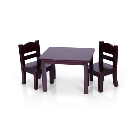 Doll Table and Chairs Set - Espresso