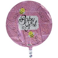 "Betallic Baby Girl Bee Holographic Balloon, 18"", Multicolor"