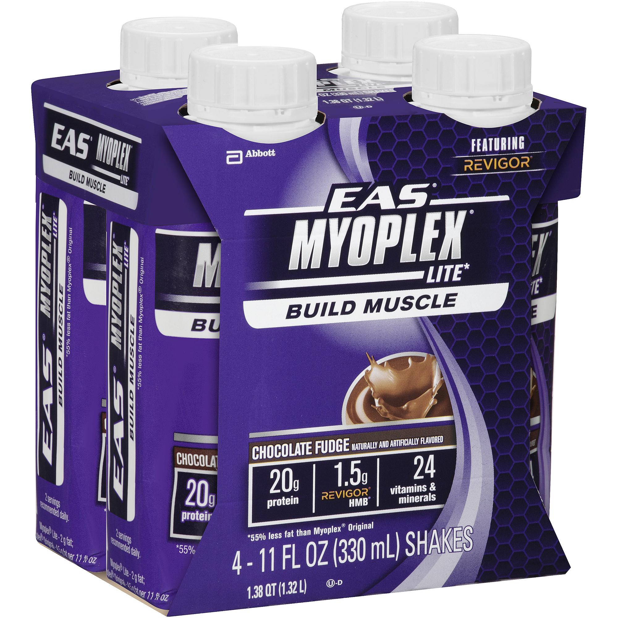 EAS Myoplex Lite Chocolate Fudge Shake, 11 fl oz, 4 count, (Pack of 6)