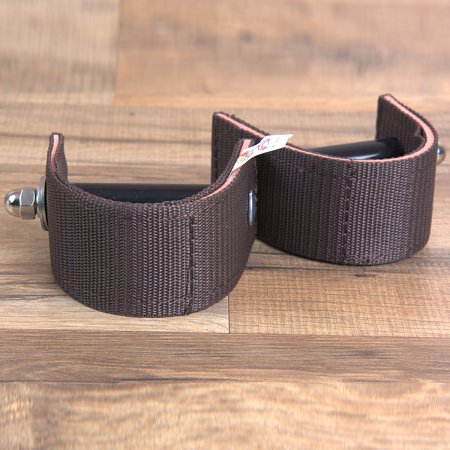 Nylon Stirrup Straps - TOUGH-1 BROWN DURABLE NYLON AND LEATHER 3 inch SADDLE STIRRUP TURNER STRAP