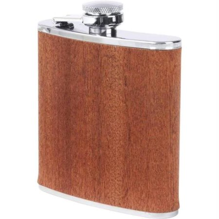 6oz Stainless Steel Flask With Real Sapele Wood Wrap ()
