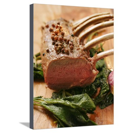 Rack of Lamb with Sichuan Pepper on Fried Sage Stretched Canvas Print Wall