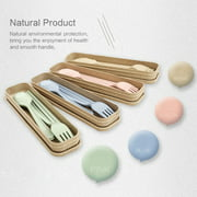 4 Colors Portable Tableware Northern European Style Healthy Environmental Protection Wheat Straw Spoon Chopsticks Fork Tableware, Suitable for Travel, Picnic, Camping or Daily Use