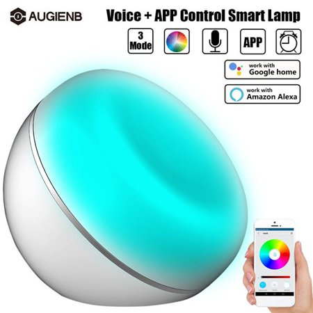AUGIENB LED Dimmable USB Charge Smart Table smartlight Desk Voice WiFi APP Control Bedside Color Changing Night Light Timing Wake-up Lamp,Support Amazon Alexa, Google Home - Voice Changing