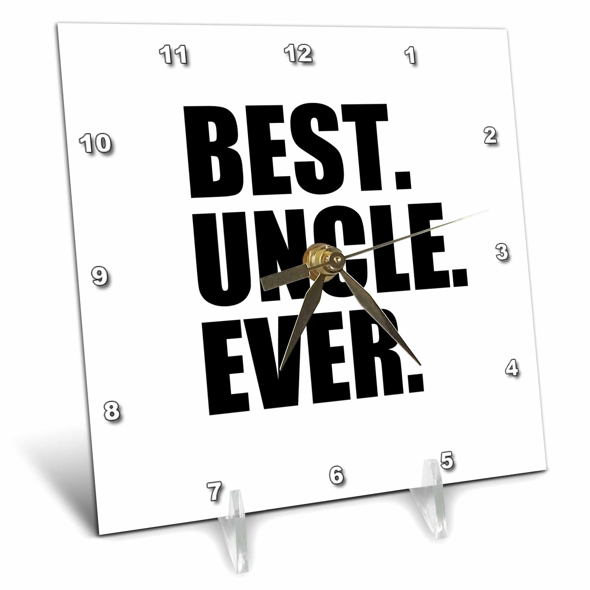 3dRose Best Uncle Ever Family gifts for relatives and honorary uncles and great uncles black text, Desk Clock, 6 by... by 3dRose