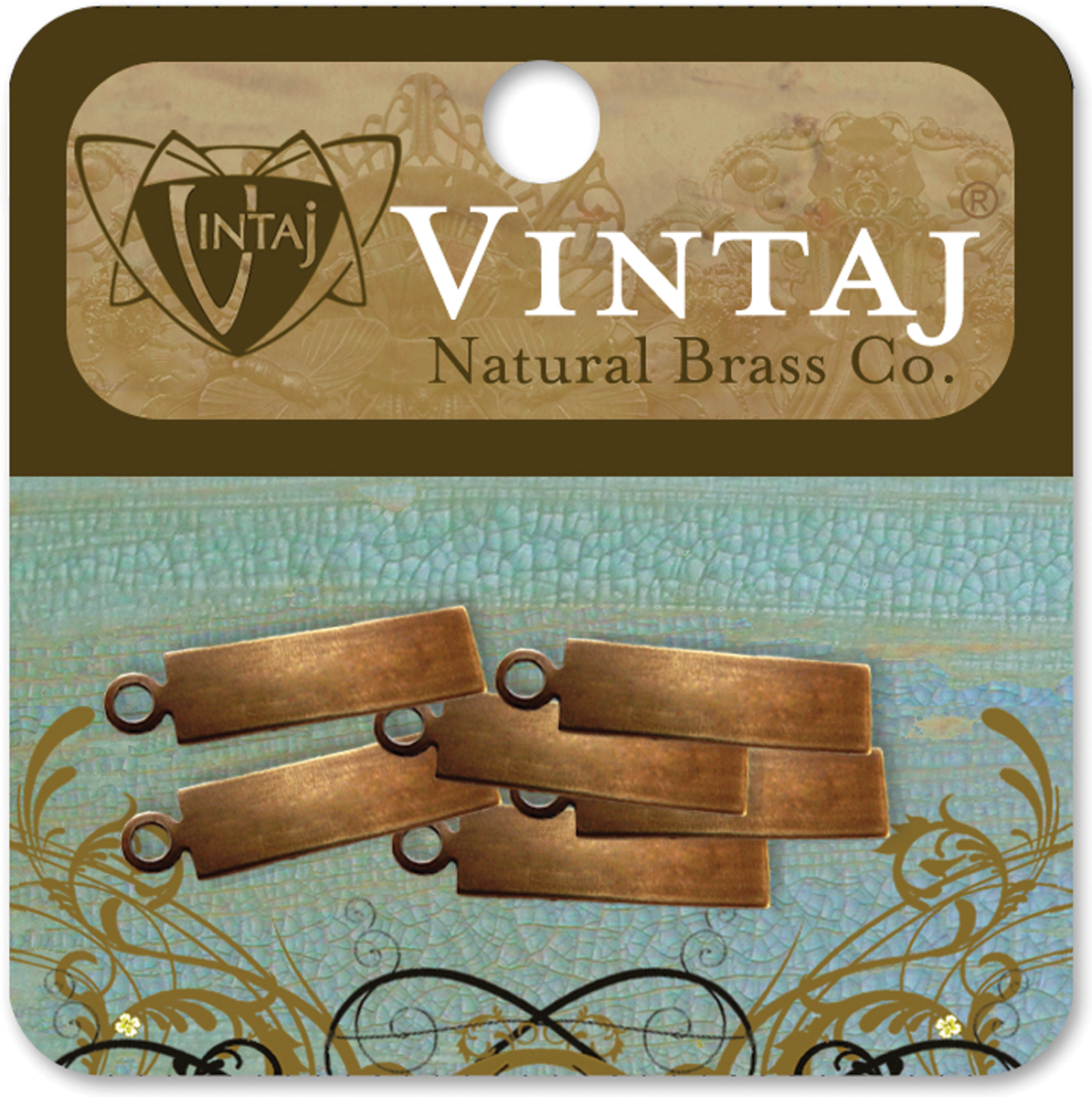 Vintaj Metal Altered Blanks 6pk, Rectangle Tag, 38mm x 14mm 6pk
