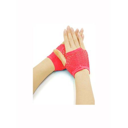 Hot Pink Gloves (Women Wrist Length Fingerless Fishnet Gloves 2 Pairs Hot)