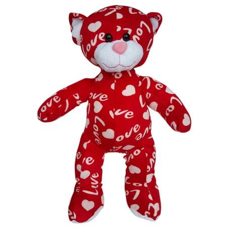 Cuddly Soft 16 inch Stuffed the Red & White Heart Bear - We stuff 'em...you love 'em!