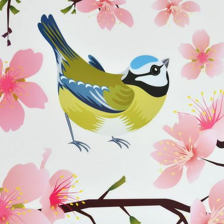 Chambre art d co motif fleur cerisier autocollant mural for Autocollant mural walmart